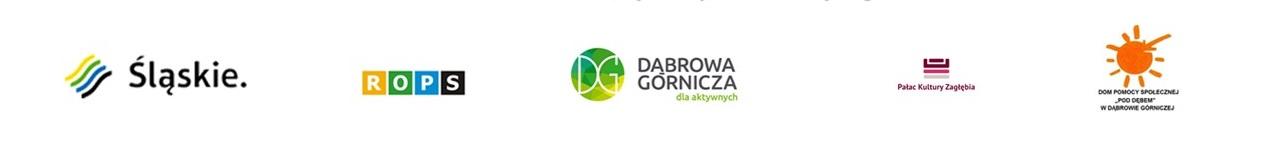 Stopka logotypy - Województwo Śląskie, ROPS Katowice, Miasto Dąbrowa Górnicza, Pałac Kultury Zagłębie, DPS w Dąbrowie Górniczej